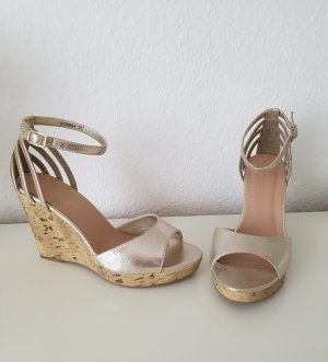 New Look High Heel Keil Sandaletten Keilsandaletten Wedges gold Kork - 40 - wide fit