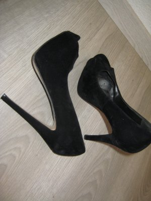 New Look High Heels Plateau Samt Schwarz Gr 38