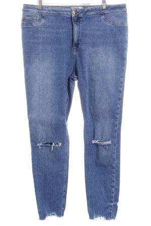 New Look High Waist Jeans blau-wollweiß Destroy-Optik
