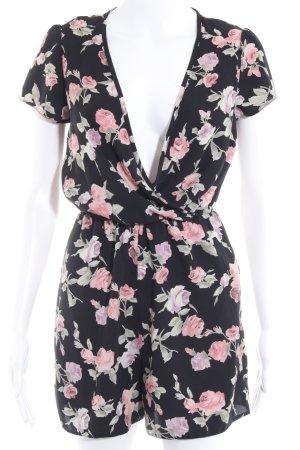 New Look Jumpsuit schwarz-altrosa Blumenmuster Casual-Look