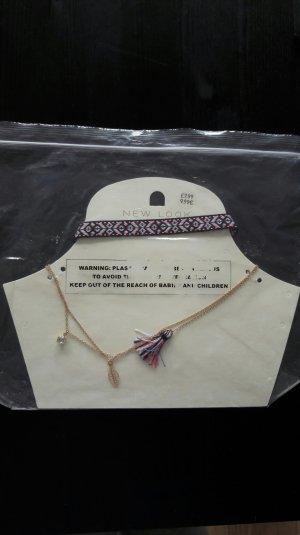 New Look Kette Kettenset Halskette Hippie Boho Festival Tassel Quaste Fransen