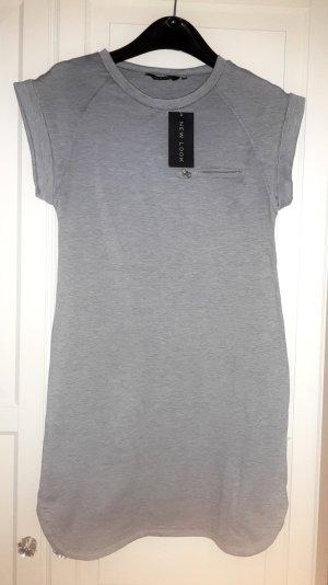 New Look Kleid Sweatshirt Sweatkleid Grau S 36 Streifen