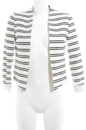 New Look Kurz-Blazer weiß-schwarz Streifenmuster Business-Look