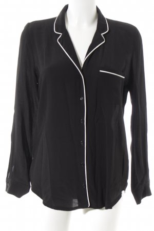 New Look Langarmhemd schwarz-weiß schlichter Stil