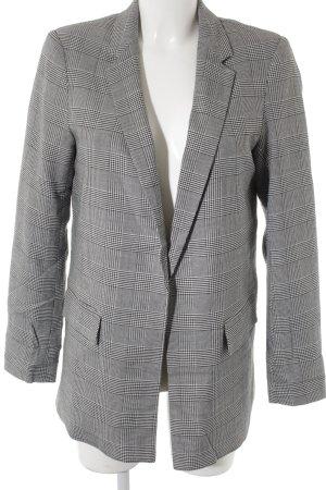New Look Blazer long noir-blanc motif pied-de-poule élégant