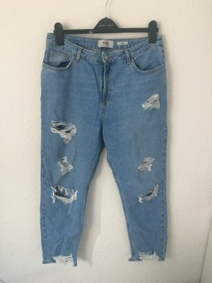 New Look Mom Jeans Destroyed Blau