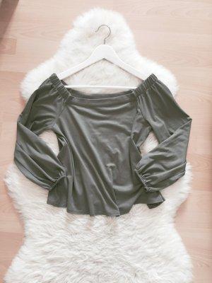 New Look Off Shoulder Top Blogger Bluse Khaki Gr.XS