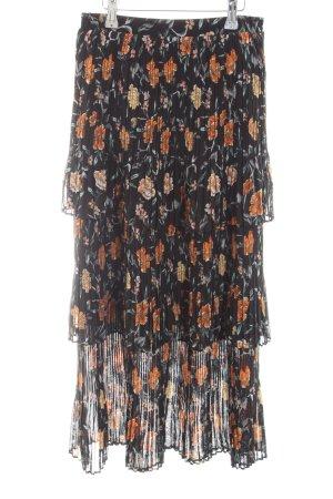 New Look Pleated Skirt black-gold orange flower pattern Gypsy style