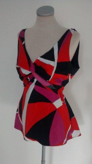 New Look retro Satin Top Oberteil Gr. UK 14 EUR 42 rot pink