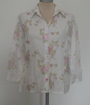New Look romantik Bluse 3/4 Arm Rosen Baumwolle Gr. UK 10 38 S M retro