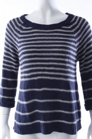 New Look Rundhalspullover blau-weiß