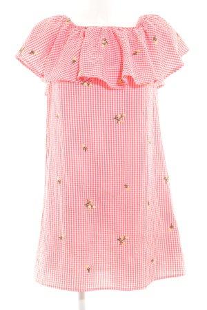New Look schulterfreies Kleid weiß-hellrot Blumenmuster Casual-Look