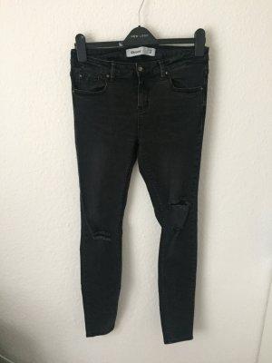 New Look Skinny Jeans Destroyed Grauschwarz