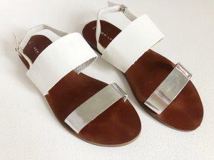 New Look Sandalias de tiras color plata-blanco