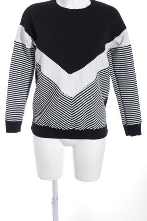 New Look Sweatshirt schwarz-weiß Streifenmuster Casual-Look