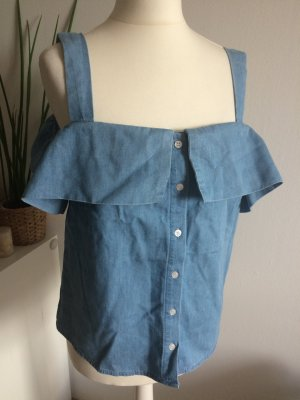 New Look Top 38 M neu Jeanstop Volant Cold Shoulder Shirt Bluse Sommer