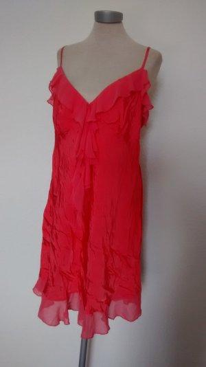 New Look Trägerkleid Kleid Vollant neu Gr. UK 18 EUR 46 Koralle gerüscht
