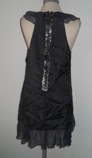 New Look Tunika Long Top Oberteil grau Pailletten gerafft Gr. UK 14 EUR 42 D 40