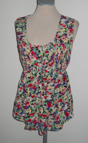 New Look Tunika Top Oberteil UK 14 EUR 42 D 40 Chiffon Blumen neu Perlen