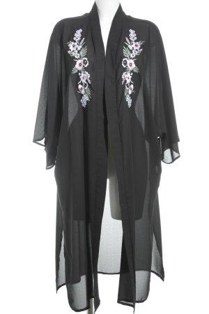 New Look Übergangsmantel schwarz florales Muster Casual-Look