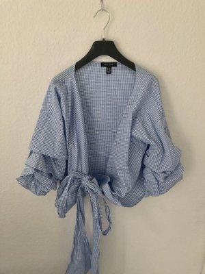 New Look Blusa cruzada blanco-azul celeste