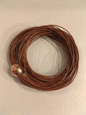 NEW ONE Armband Wickelarmband mit Magnetverschluss und dünnen feinen Lederbändern