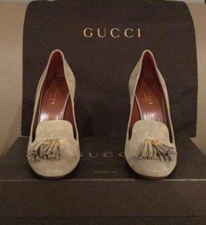 Gucci Pumps silver-colored-grey brown suede