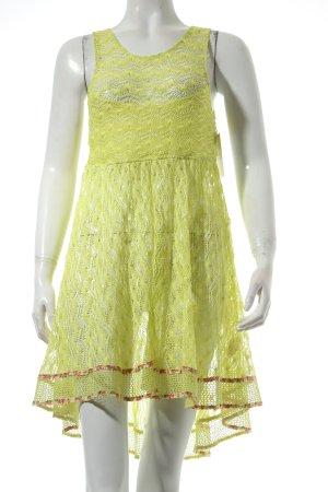 New Romantic Trägerkleid gelb Lochstrickmuster Gypsy-Look