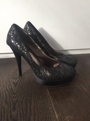 New York City Style Sexy Black Silver Lace High Heel Plateau Pumps Size 41