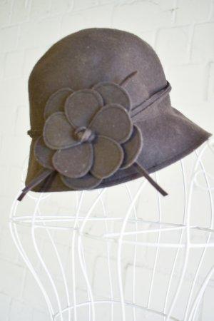 Chapeau cloche gris tissu mixte
