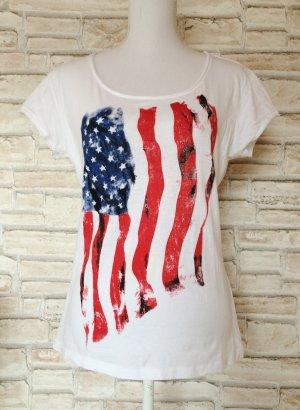 New Yorker Fishbone Shirt T-Shirt lässig Amerika Flagge Sterne Aufdruck