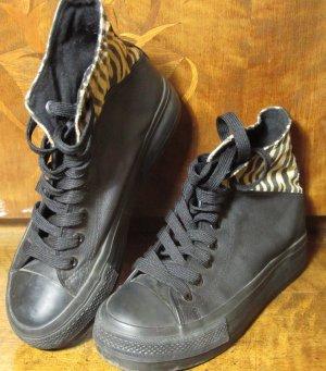 New Yorker High Top Damen Sneaker Schwarz/Zebra Gr. 37