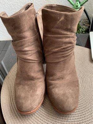 Bottines à plateforme gris brun