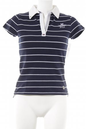 New Zealand Auckland Polo blu scuro-bianco motivo a righe stile universitario