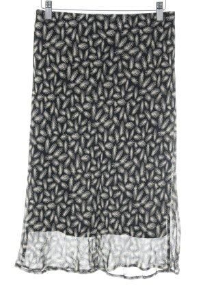 Next Falda de tubo negro-crema estampado con diseño abstracto elegante