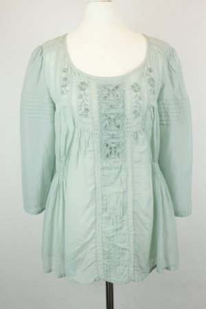 Next Bluse Schlupfbluse Gr. UK 10 / dt 38 mintgrün Stickerei