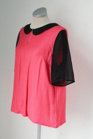 Next Bubikragen Blusentop Top Oberteil kurzarm Shirt Chiffon Pallietten Gr. UK 14 EUR 42 pink schwarz