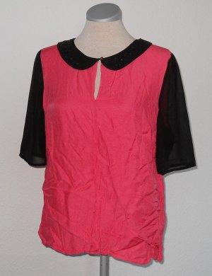 Next Bubikragen Top kurzarm Shirt Chiffon Pailletten Gr. UK 14 40 pink schwarz
