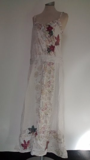 Next folklore Kleid lang Gr. UK 12 EUR 40 M Baumwolle Sommerkleid Trägerkleid weiß bunt