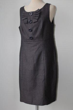 Next Gr. UK 14 EUR 42 L Etuikleid grau meliert Schleife Kleid knielang midi