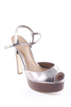 Next High Heel Sandaletten silberfarben-braun Metall-Optik