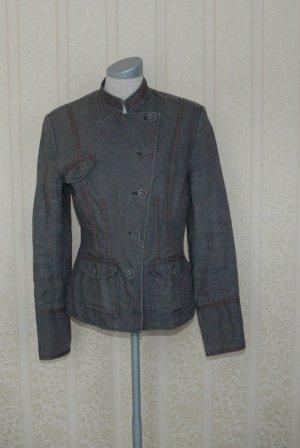 Next Leinen Blazer grau Gr. UK 8 36 S leichte Jacke