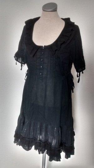 Next Lolita Kleid gerüscht schwarz Hemdkleid gothic Baumwolle  Gr. UK 14 EUR 42