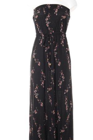 Next Vestido largo negro-rojo estampado floral look casual