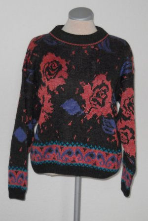 Next retro Pullover Gr. M 38 Rosen Blumen grau schwarz Rundhals