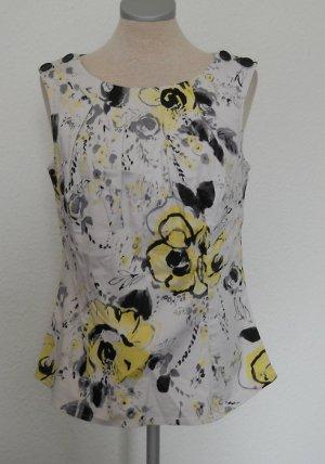 Next Top Gr. UK 12 40 M L weiß schwarz gelb retro gerafft Baumwolle Bluse