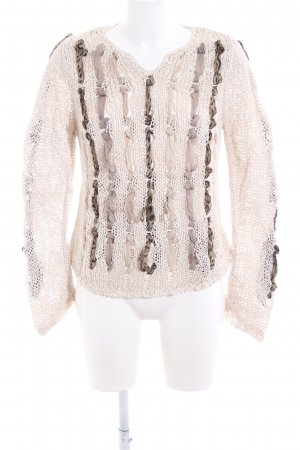 Nice Connection Coarse Knitted Sweater cream casual look