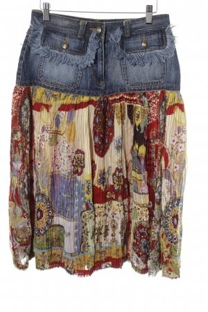 Nice Connection Denim Skirt abstract pattern extravagant style
