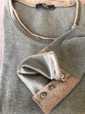 Nice Connection Langarm Shirt, grau & beige, mit Kaschmir, Perlmutt-Knöpfen & Seide