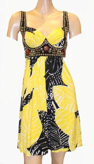 NICE CONNECTION sexy Sommer Kleid mini schwarz gelb 36/38